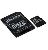 Карта памяти Kingston microSDHC 16GB Class 10 с адаптером