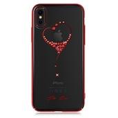 Пластиковый чехол со стразами Swarovski Kingxbar Wish Series для iPhone X Heart красный