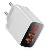 Сетевое зарядное устройство Baseus Mirror Lake BS-E912 18W, QC 3.0, 2 USB белое