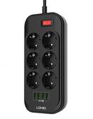 Сетевой фильтр LDNIO SE6403 Defender Series 2500W 6 розеток, 4 USB, 2 м черный