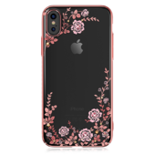 Пластиковый чехол со стразами Swarovski Kingxbar Flora Series для iPhone X розовое золото