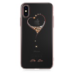 Пластиковый чехол со стразами Swarovski Kingxbar Wish Series для iPhone X Heart розовое золото