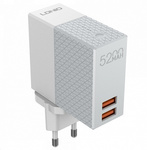 Сетевое зарядное устройство + внешний аккумулятор LDNIO PA606 2 in 1 - 5200 мАч, 2 USB белое