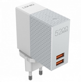 Сетевое зарядное устройство + внешний аккумулятор LDNIO PA606 2 in 1 - 5200 мАч, 2USB белое