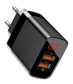 Сетевое зарядное устройство Baseus Mirror Lake BS-E912 18W, QC 3.0, 2 USB черное