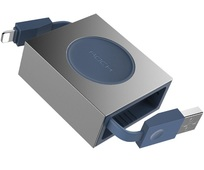 Кабель Rock Retractable Charge & Sync Cable Lightning to USB 80 см для iPad / iPhone / iPod голубой (RCB0547)