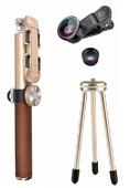 Комплект 3 в 1 монопод + трипод + объектив Noosy Leather 90 см коричневый